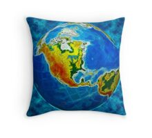 globe, in a center north America Throw Pillow