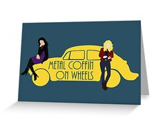 Metal Coffin On Wheels Greeting Card