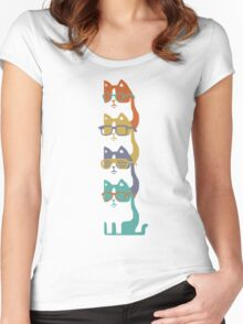 Colorful Cats In Glasses Stack Women's Fitted Scoop T-Shirt