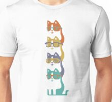 Colorful Cats In Glasses Stack Unisex T-Shirt