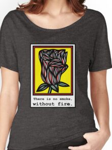 Casey Flowers Yellow Red Black Women's Relaxed Fit T-Shirt