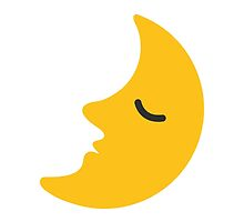 First Quarter Moon With Face Google Hangouts / Android Emoji by emoji