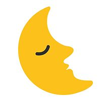 Last Quarter Moon With Face Google Hangouts / Android Emoji by emoji