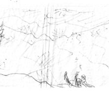 GOING TO FAST(C2011)(PENCIL SKETCH ON NAPKIN) by Paul Romanowski