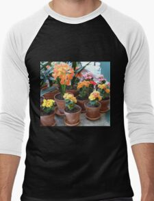 Outrageous Orange Amaryllis and Begonias Men's Baseball ¾ T-Shirt