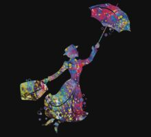 Mary Poppins Silhouette Watercolor Kids Clothes