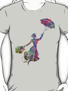 Mary Poppins Silhouette Watercolor T-Shirt