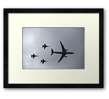 KC-130 and 3 F/A 18 Super Hornets Framed Print