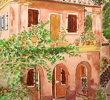 Watercolour.                        Corfu Greece   by Irene  Burdell