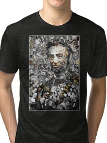 "Title: ""Rendering Myself Worthy"" Abe Lincoln, Slavery, Civil War Meta Collage Tri-blend T-Shirt"