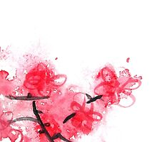 Cherry Blossoms Triptych III by Kathie Nichols