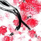 Cherry Blossoms Triptych I by Kathie Nichols
