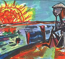 WATCHING THE SUN SET(COMPOSITION SKETCH)(c1995) by Paul Romanowski