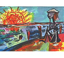 WATCHING THE SUN SET(COMPOSITION SKETCH)(c1995) Photographic Print