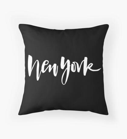 New York Brush Lettering Throw Pillow