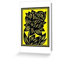 Penunuri Daffodil Flowers Yellow Black Greeting Card