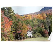Old Barn with Fall Foliage Surrounding it Poster