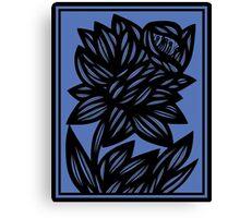 Litzau Daffodil Flowers Blue Black Canvas Print