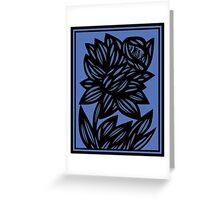 Litzau Daffodil Flowers Blue Black Greeting Card