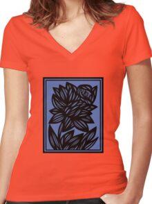 Litzau Daffodil Flowers Blue Black Women's Fitted V-Neck T-Shirt