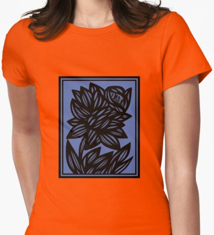 Litzau Daffodil Flowers Blue Black Womens Fitted T-Shirt