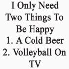 I Only Need Two Things To Be Happy 1. A Cold Beer 2. Volleyball On TV  by supernova23