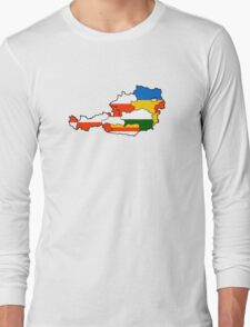 Austria States Flag Map Long Sleeve T-Shirt