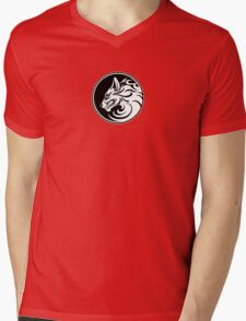 Growling White and Black Wolf Circle Mens V-Neck T-Shirt