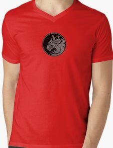 Growling Gray and Black Wolf Circle Mens V-Neck T-Shirt