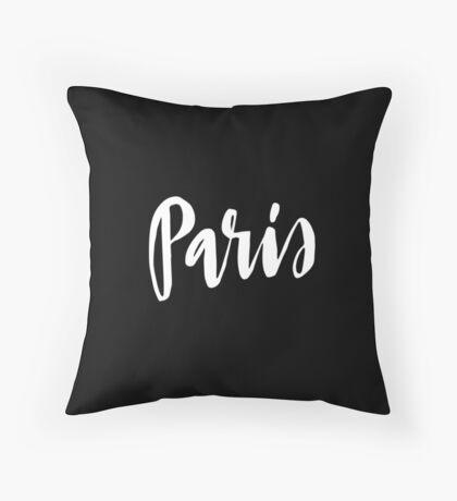 Paris Brush Lettering Throw Pillow