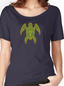 Intricate Green and Yellow Sea Turtle Women's Relaxed Fit T-Shirt