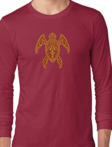 Intricate Golden Red Sea Turtle Long Sleeve T-Shirt
