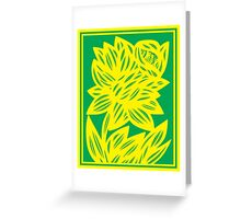 Goldwire Flowers Yellow Green Greeting Card