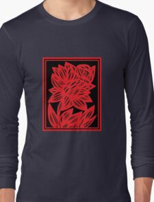 Komlos Daffodil Flowers Red Black Long Sleeve T-Shirt