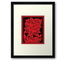 Komlos Daffodil Flowers Red Black Framed Print