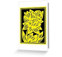 Gertel Daffodil Flowers Yellow Black Greeting Card