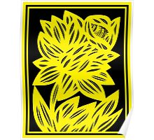 Gertel Daffodil Flowers Yellow Black Poster