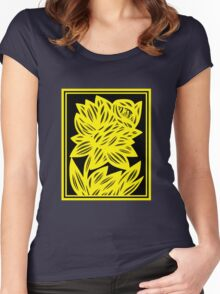 Gertel Daffodil Flowers Yellow Black Women's Fitted Scoop T-Shirt
