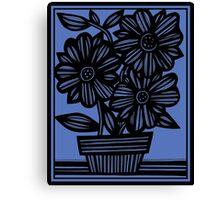 Sclavi Flowers Blue Black Canvas Print