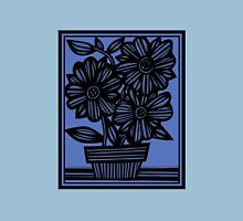 Sclavi Flowers Blue Black Womens Fitted T-Shirt