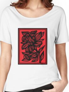 Brien Daffodil Flowers Red Black Women's Relaxed Fit T-Shirt