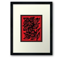 Brien Daffodil Flowers Red Black Framed Print