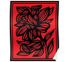 Brien Daffodil Flowers Red Black Poster