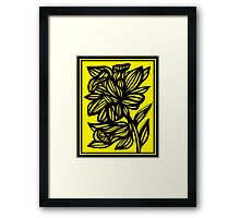 Shinney Daffodil Flowers Yellow Black Framed Print