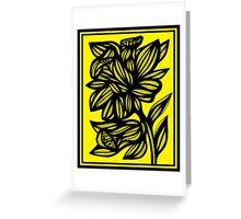Shinney Daffodil Flowers Yellow Black Greeting Card