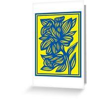 Pawelczyk Daffodil Flowers Yellow Blue Greeting Card