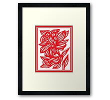 Zerko Daffodil Flowers Red White Framed Print