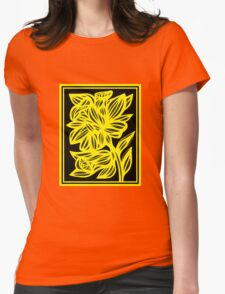 Holak Daffodil Flowers Yellow Black Womens Fitted T-Shirt