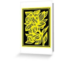 Holak Daffodil Flowers Yellow Black Greeting Card
