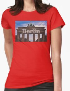 Berlin Wall Typography Print Womens Fitted T-Shirt